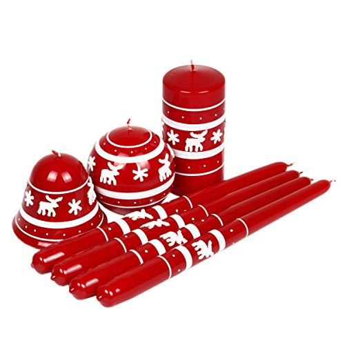 Velas Navidad velas diseño de reno de Navidad rojas-Set de 7velas navideñas