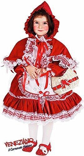Italienische Herstellung Baby &ältere Mädchen kleine rote Riding Kapuze mit Basket büchertag Woche Halloween Karneval Kostüm Kleid Outfit 0-6 Jahre - Rot, 4 years