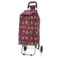 Hoppa 47Ltr Lightweight Shopping Trolley, Hard Wearing & Foldaway for Easy Storage With 3 Years Guarantee (Burgundy Owl)