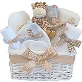Herr Giraffe DELUXE Unisex Neugeborenen Geschenke Baby Korb Korb Junge Mädchen | Baby Shower Hamper Geschenke | SCHNELLE VERSAND