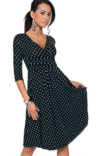 Frauen 1950er Jahre Vintage 3/4 Ärmel tiefer V-Ausschnitt Polka Dot Swing Partykleid Green