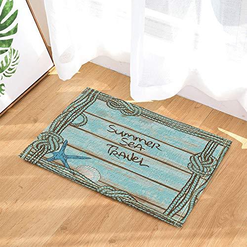 fdswdfg221 Hellblaue Holzbohlen, blaues Seil, Blauer Seestern, Blaue MuschelnRutschfestes Badezimmermattenzubehör des Digitaldrucks 3D - Waschen Schaum Badewanne