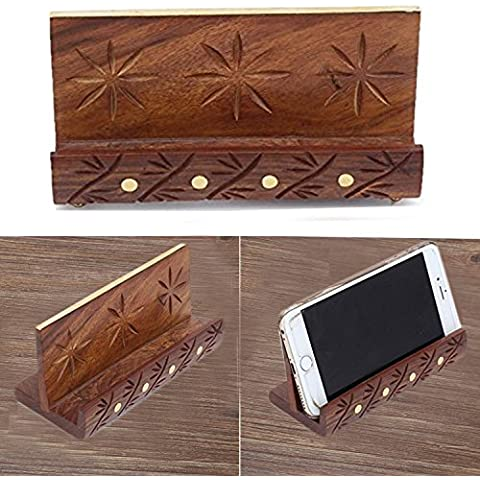 PMK Soporte móvil de madera, talla con latón embutido de Gaza Mobile Holder, Tarjeta de Presentación 6X2.5inch Holder , Regalo de la donación o de la Navidad de las gracias
