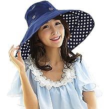 Gorra Visera anti-UV sombrero de playa Elégant Mujer Niña Capeline viaje plegable Large borde sombrero de sol/cubo sèchage rápido vacaciones de verano protección solar Sun Hat para primavera verano, Point Bleu Foncé, talla única