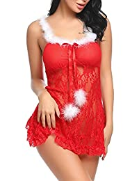 Adome Nuisette Noël Rouge Lingerie Sexy G-String Babydoll Peluche Transparent