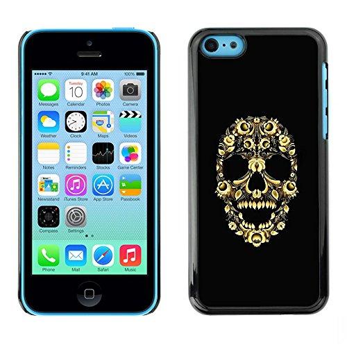 TopCaseStore / Snap On Gummi Schwarz Schutz Hülle Case Cover - Skull Bling Floral Flowers Yellow Skeleton - Apple iPhone 5C (Iphone 5c-skull Case Bling)