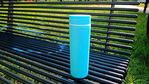 MIU COLOR® Trinkflasche BPA-Frei 450ml, Wasserflasche Glas, Glasflasche,Trinkflasche mit Silikonhülle (Hellblau) -