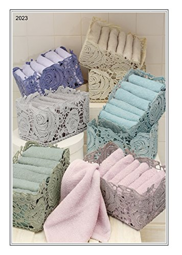 Set 6Handtücher Waschlappen mit Korb aus Spitze