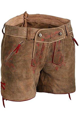 Damen Spieth & Wensky Lederhose Shorts hellbraun mit roter Stickerei, hellbraun-rot, 40