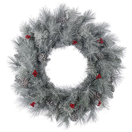 Vickerman Frosted Mix Berry Pine Wreath with 123 Tips, 30, Unlit by Vickerman (Pine-berry Frosted)
