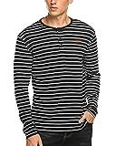 Coofandy Herren Sweatshirt Pullover Gestreifen Stripe Henley-Kragen Langarmshirt für Männer grau s