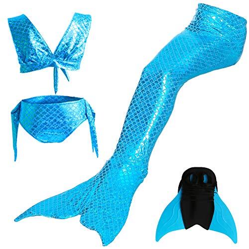 DECOOL Mädchen Meerjungfrau Schwanz Badeanzug Prinzessin Cosplay Bademode für Das Schwimmen mit Bikini Set und Monoflosse, 4 Stück Set