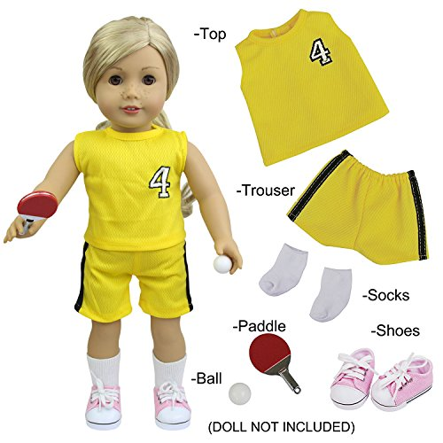 Socke Tennis-schuhe (ZITA ELEMENT 6 Stück Tennis Uniform Puppen Kleidung für 45cm 46cm Babypuppen 18 Zoll American Girl Doll Sommer Sportlich Bekleidung Ball Paddel Schuhe Socken Oberteil Hosen)