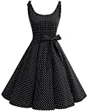 bbonlinedress 1950er Vintage Polka Dots Pinup Retro Rockabilly Kleid Cocktailkleider Black White Dot XS