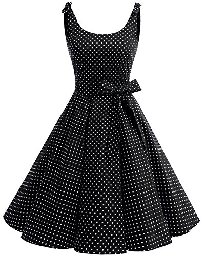 Vintage Polka Dots Pinup Retro Rockabilly Kleid Cocktailkleider Black White Dot XL ()