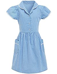 533a8dffc7 Girls School Dress Ex Marks and Spencer 100% Cotton Gingham Blue Red Yellow  Size UK