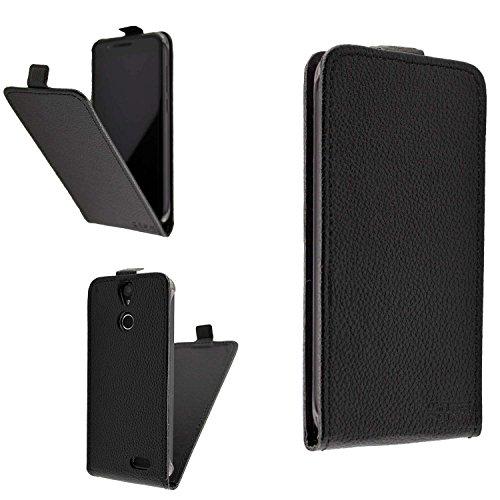 caseroxx Hülle/Tasche Flip Cover schwarz + Displayschutzfolie für Vernee Thor, Set Bestehend aus Flip Cover und Displayschutzfolie