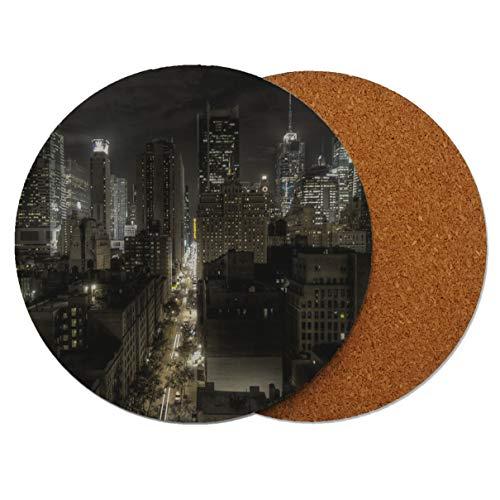 New York 57th Runder Holz-Untersetzer mit Korkrückseite 95mm x 95mm (Packung mit 2)