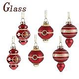 Valery Madelyn 6 Stücke 5CM Glas Weihnachtskugeln Set Luxus Rot und Gold Thema Christbaumkugel mit Aufhänger Weihnachtsbaumschmuck Weihnachten Dekoration