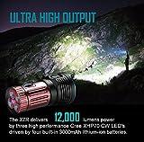 Olight® X7R Marauder aufladbar LED Taschenlampe 12000 Lumen mit 3 X Cree XHP70 CW LED - inkl. 1 x eingebaute 4 x 3000mAh 18650 Akkus - Ultra hell und kompakt - 4
