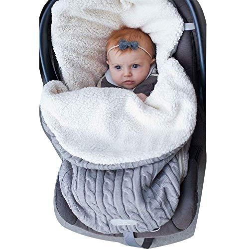 Babydecke wickeln, dickes Baby, Kleinkinder, Kleinkinder, gestrickt weich und warm, Decke Decke Schlafsack Schlafsack Unisex-Kinderwagen Wickel für Kinder von 0 bis 12 Monaten