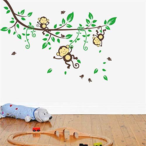 Dschungel Wilde Affen Vögel Bäume Wandtattoos Aufkleber fürKinderzimmer Cartoon Kindergarten Baby Kinderzimmer Dekor Kunst Poster -