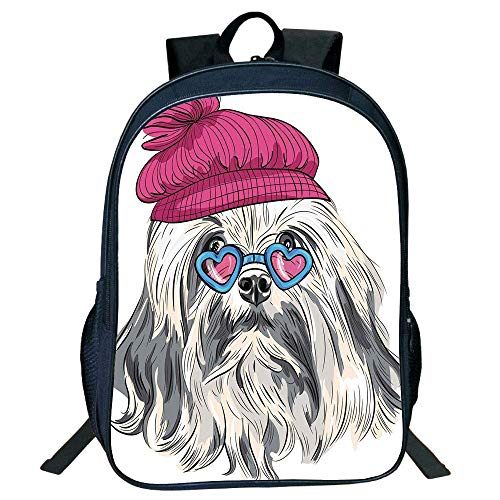 HOJJP Schultasche Stylish Unisex School Students Black Indie,Lion Bichon Lowchen Breed Cute Dog Heart Shaped Glasses French Hat Print Decorative,Grey Pink Blue Kids,