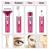 4 in 1 Elektrischer Damenrasierer mit USB Ladung, Nass und Trockenrasur, Morease Ladyshaver für Gesicht und Körper -...