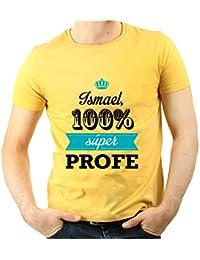 Calledelregalo Regalo para Profesores Personalizable: Camiseta SuperProfe Personalizada con su Nombre (Amarillo