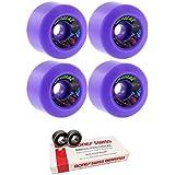 Speedlab Wheels 60mm Speedlab Wheels Cruisers Skateboard Wheels With Bones Bearings - 8mm Bones Swiss Skateboard Bearings - Bundle Of 2 Items