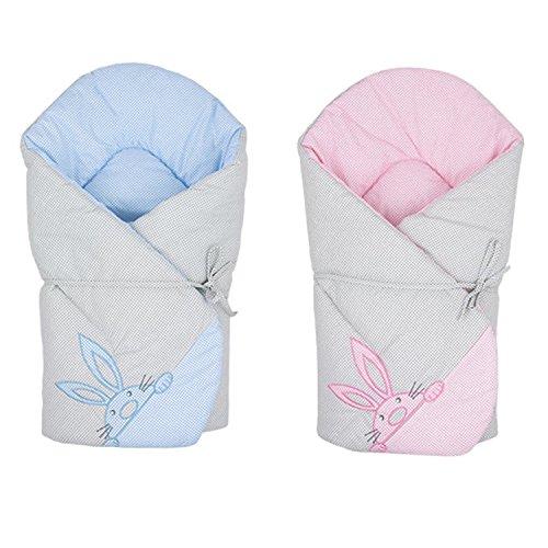 Sevira Kids - Schlafsack -Einwickel- Mehrzweck aus 100% Baumwolle - Nest Engel Geburt find me - Rosa, Ab Geburt - 3/4 Monate