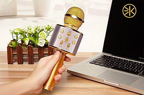 3Keys Wireless Handheld Bluetooth Mic Audio Recording and Karaoke Feature Microphone for Tablet PC Phone Microphone Mic Recording Condenser Handheld Microphone Stand Speaker for Cellphone Karaoke (Gold)