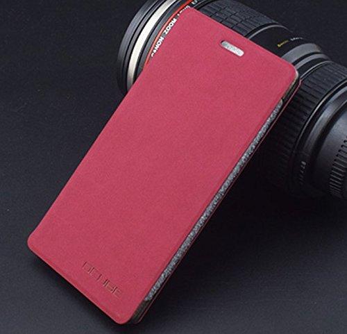 PREVOA ® 丨Flip PU Hülle Cover Case Schutzhülle Tasche für Vernee Apollo Lite 4G Smartphone 5,5 Zoll - (A- Hong)