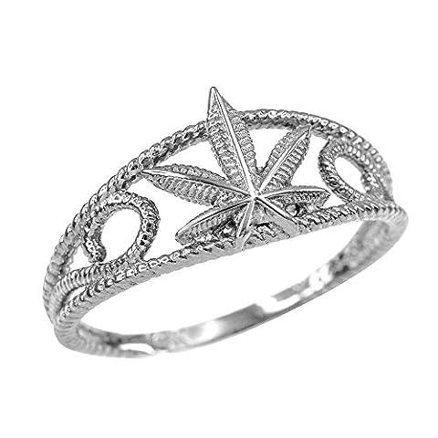 Women's 10ct White Gold Textured Filigree Weed Marijuana Leaf Ring