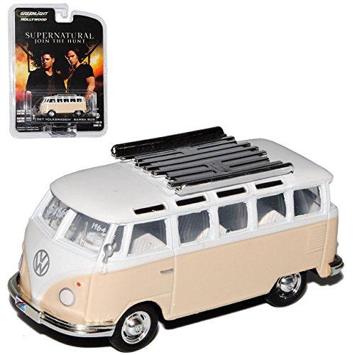 alles-meine.de GmbH VW Volkswagen T1 Beige Weiss mit Dachträger Samba Bully Bus 1950-1967 Supernatural Join The Hunt 1/64 Greenlight Modell Auto