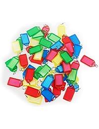WINOMO 60pcs porte-clés en plastique bagages ID Tags étiquettes avec porte-clés (couleur aléatoire)