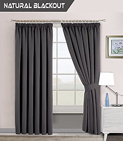 Interwoven Supersoft Insulated Thermal Blackout Pencil Pleat Pair Curtains for living Room & Bedroom (66