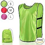 High Pulse Trainingsleibchen (12 Stück) - Markierungshemden zur Kennzeichnung von Mannschaften im Training und Spiel (Neongrün | Größe M)