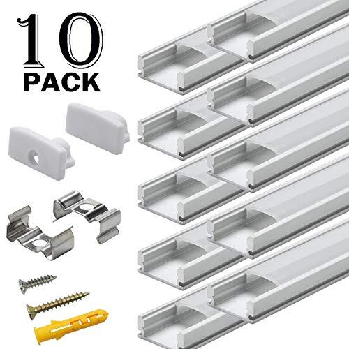 Aluminium LED Profil - 10x1meter Alu-Profil U-form für LED-Streifen mit Komplettes Montagezubehör -
