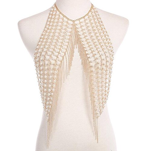 ion Sexy Nachtclub Handgefertigte Perle Körper Kette Halskette (Womens Körper Anzug)