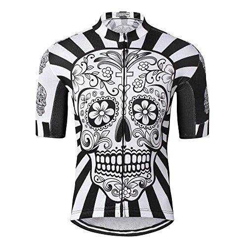 Shenshan Radtrikot Herren Bike Trikot Fahrrad Tops Shirts atmungsaktiv MTB Trikot Kurzarm pro Team Mountain Road Jacke Sommer Kleidung Schädel Weiß Größe L -