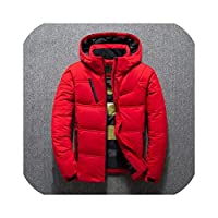 betterluse Mens Quality Thermal Thick Coat Snow Parka Male Warm Outwear White Duck Down Jacket-Red-X-Large