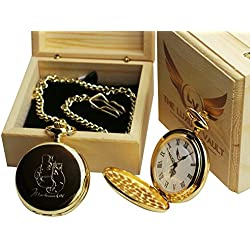 Muhammad Ali Signed Boxing Glove Design Gold Pocket Watch Luxury 24 Carat Plated in Wooden Gift Case for Boxing Fans
