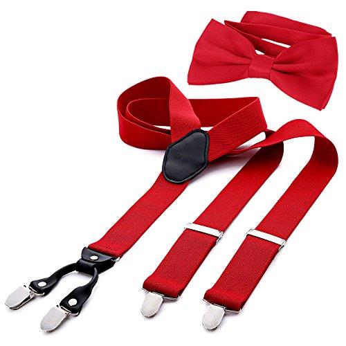 DonDon Herren 3,5 cm breiter Hosenträger in Y-Form elastisch und verstellbar im 2er Set mit farblich passender Fliege 12 x 6 cm Rot
