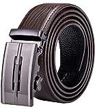 DiBanGu Cinturón de trinquete para hombre, de piel auténtica, cinturón de vestir con hebilla automática Plata Marrón Dk-0026 130 cm/44' Cintura