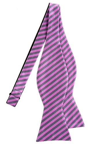 Retreez tissé à rayures à nouer Nœud Papillon en microfibre–Différentes couleurs Pink and Grey Stripe
