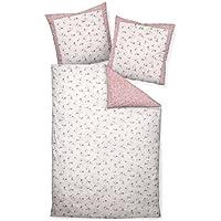 Janine Mako satén ropa de cama (2piezas, funda nórdica de 135x 200cm 80x 80cm funda de almohada Roman tico 46012–01Color Rosa Plata