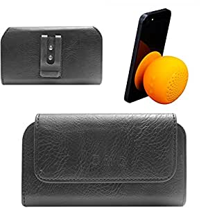 DMG Premium PU Leather Cell Phone Pouch Carrying Case with Belt Clip Holster for LG G4 Beat (Black) + Waterproof Bluetooth Suction Stand Speaker