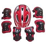 Yvsoo Protecciones Patines Niño 7Pcs Casco Brazales Protector de odo Rodillera Equipo de Protección para Skate Ciclismo, 5-11 años (Rojo)