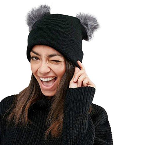 Strickmützen Damen Hüte Winter Mütze Warm Caps Frauen Doppel Faux Pelz Hut Von Xinan (Dunkelgrau, ❤️) Frauen Faux-pelz-hut